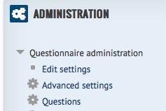 Admin tab questionnaire